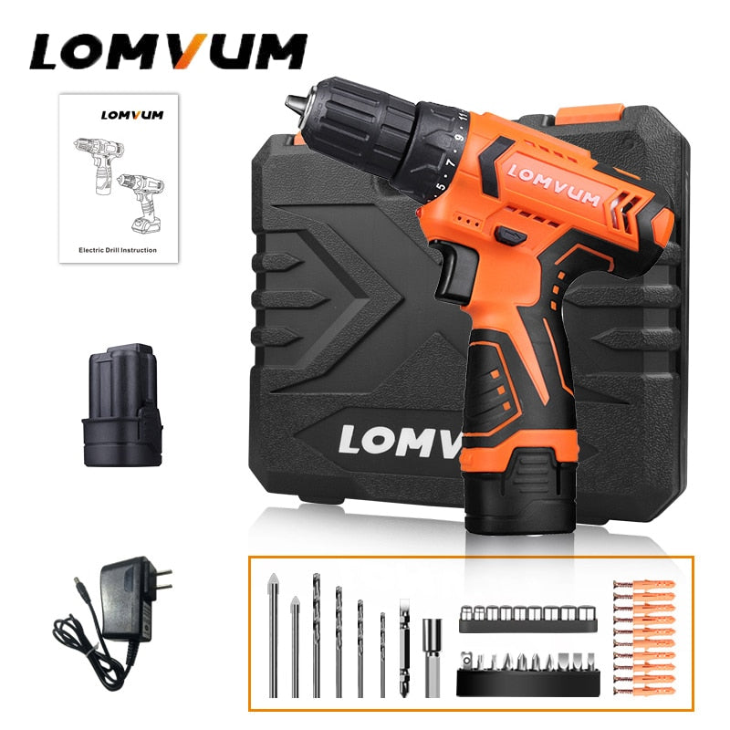 Lomvum New Mini Power Tools 12/16/24V Double Speed Electric Cordless Drills Battery Packs Hand Tools Electric Screwdriver Drill
