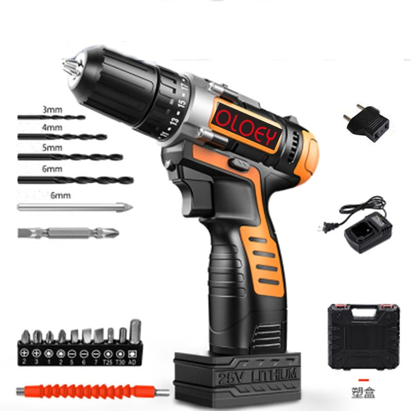 12V 16.8V 25V  Electric Screwdriver Cordless Drill Mini Wireless Power Driver DC Lithium-Ion Battery 10mm 2-Speed