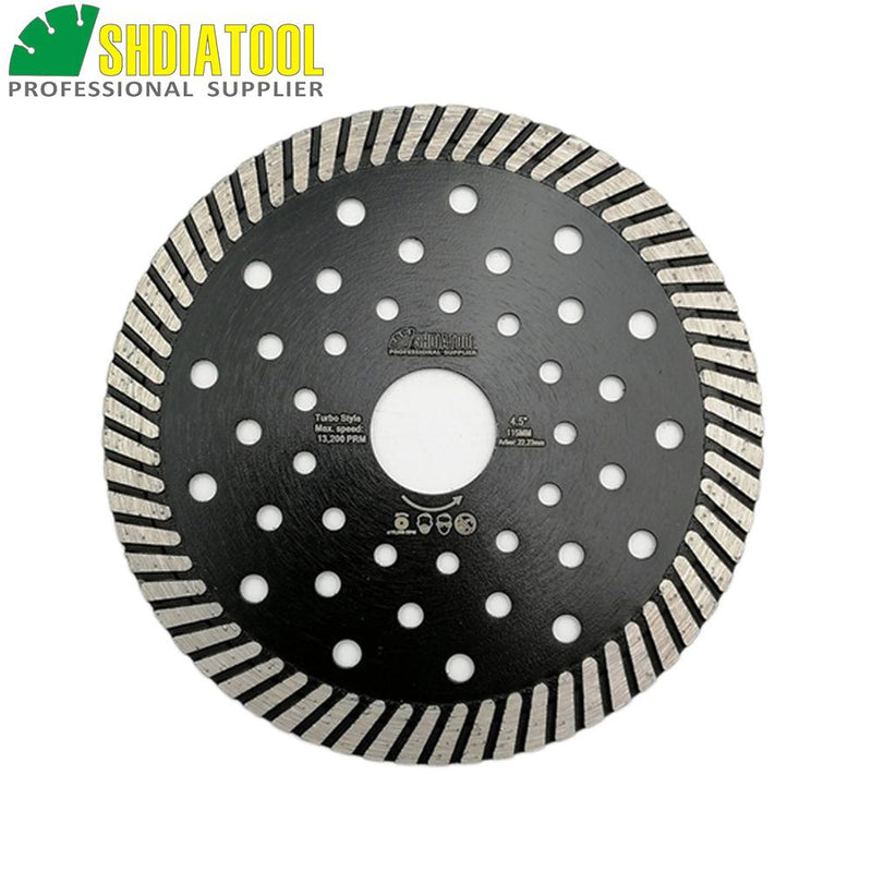 "SHDIATOOL 4.5""/5""/7""/9"" Diamond Hot Pressed Turbo Blade Cutting Disc Granite Marble Sawblade Diamond Circular Saw Blades Wheel"