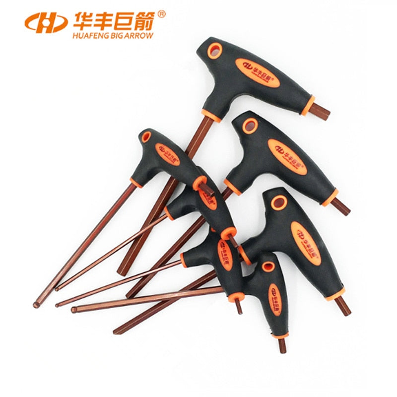 HUAFENG BIG ARROW T Handle Hex Allen Key Wrench Set Ball Head Wrench Flat Head  2mm-10mm Torx Wrench T10-T50