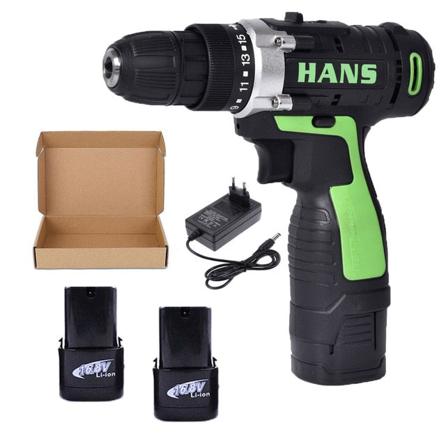 2 Battery Hand Drill Cordless Electric Impact Power Drills Screwdriver Rotary Tools For Woodworking 12V/16.8V/18V