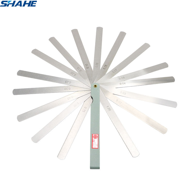 SHAHE Portable 150 mm length 17 Blades Feeler Gauge Metric Feeler Gauge 0.02-1.00 mm Measurement  Tool