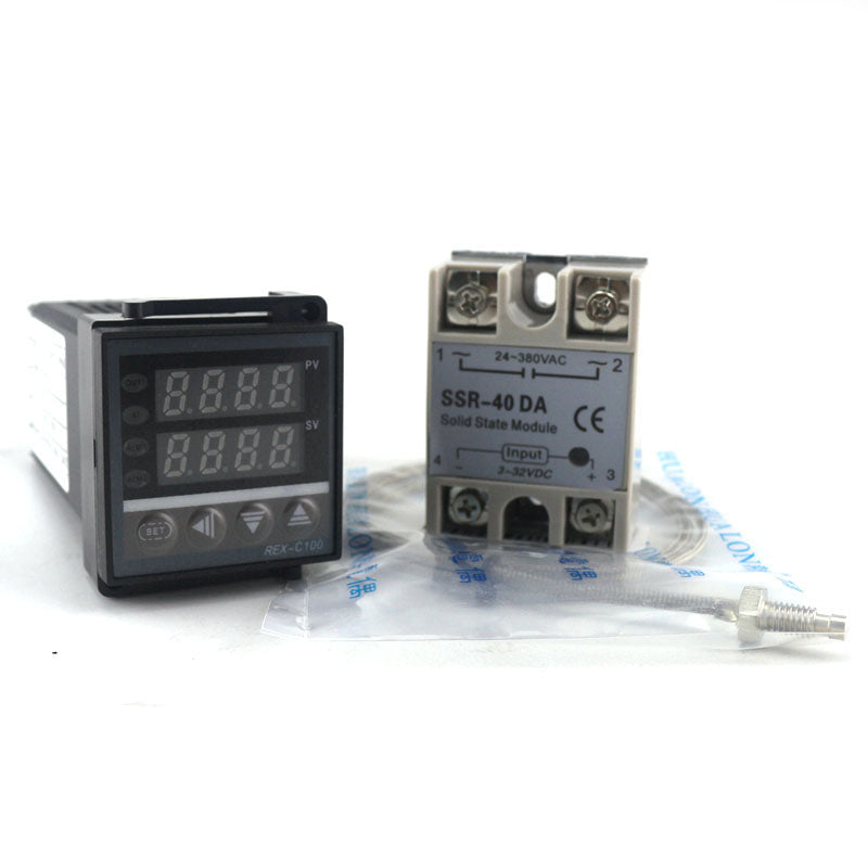Dual PID Thermostat Regulator SSR Output Digital PID Temperature Controller REX-C100 0-400C Thermocouple K SSR 40A SSR-40A