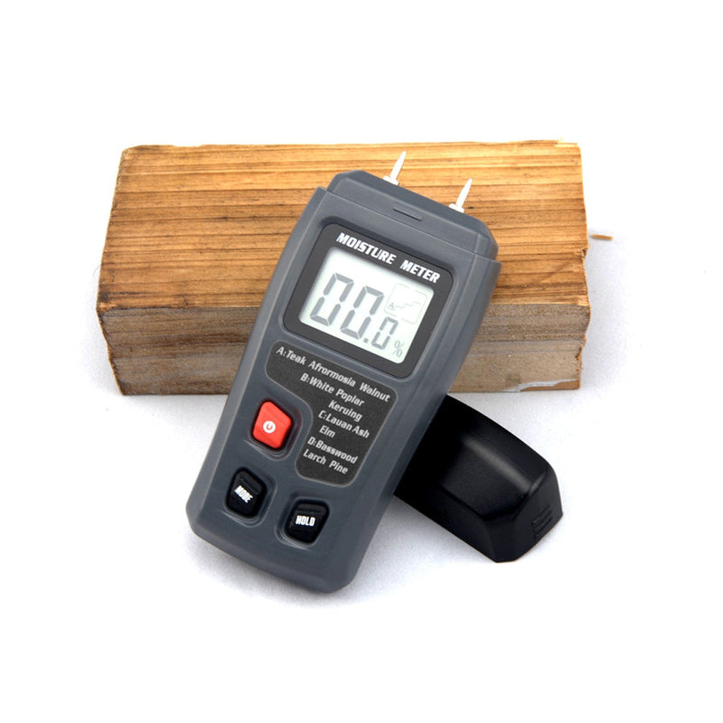 EMT01 0-99.9% Two Pins Digital Wood Moisture Meter Wood Humidity Tester Hygrometer Timber Damp Detector Large LCD Display