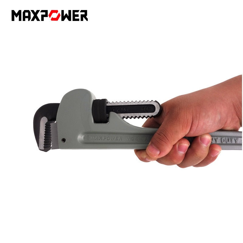 Maxpower 14 Inches Heavy Duty Pipe Wrench Aluminum Pipes Clamp Plumbing Manual Hardware Tools Cr-mo Jaws Anti-corrosion New B4