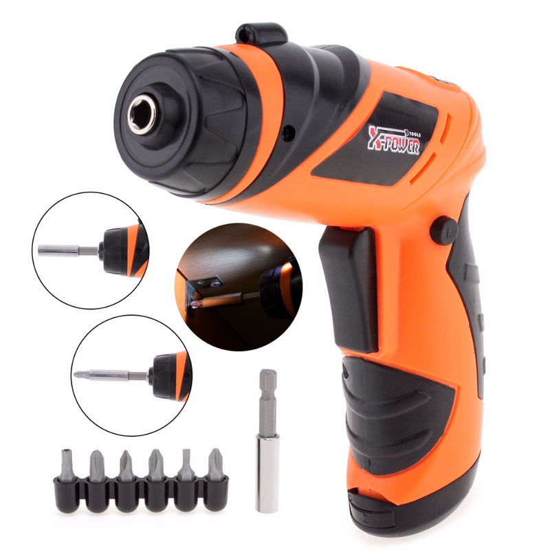 6V Lithium-Ion Cordless Electric Screwdriver Household Multi function Drill/Driver Power Gun Tools LED Light