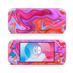 Red & Pink Paint Swirl Nintendo Switch Lite Skin