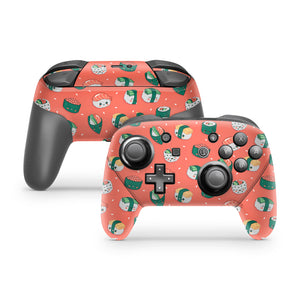 Coral Sushi Nintendo Switch Pro Controller Skin