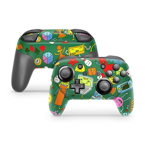 Green Game Doodles Nintendo Switch Pro Controller Skin