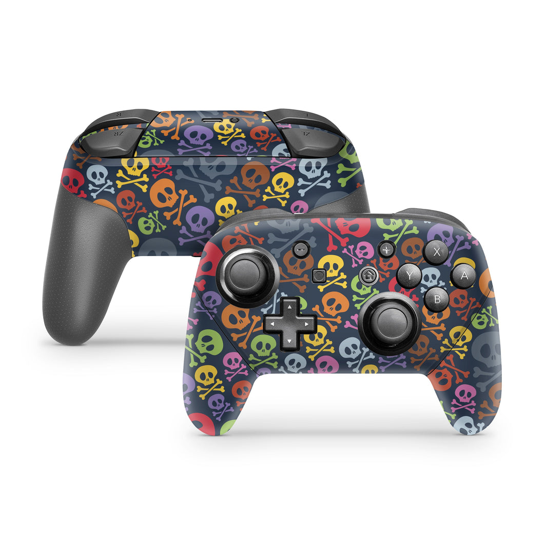 Colorful Skull & Crossbones Nintendo Switch Pro Controller Skin