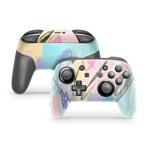 Pastel Scribbles Nintendo Switch Pro Controller Skin