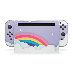 Rainbow Lavender Sky & Clouds Nintendo Switch Skin