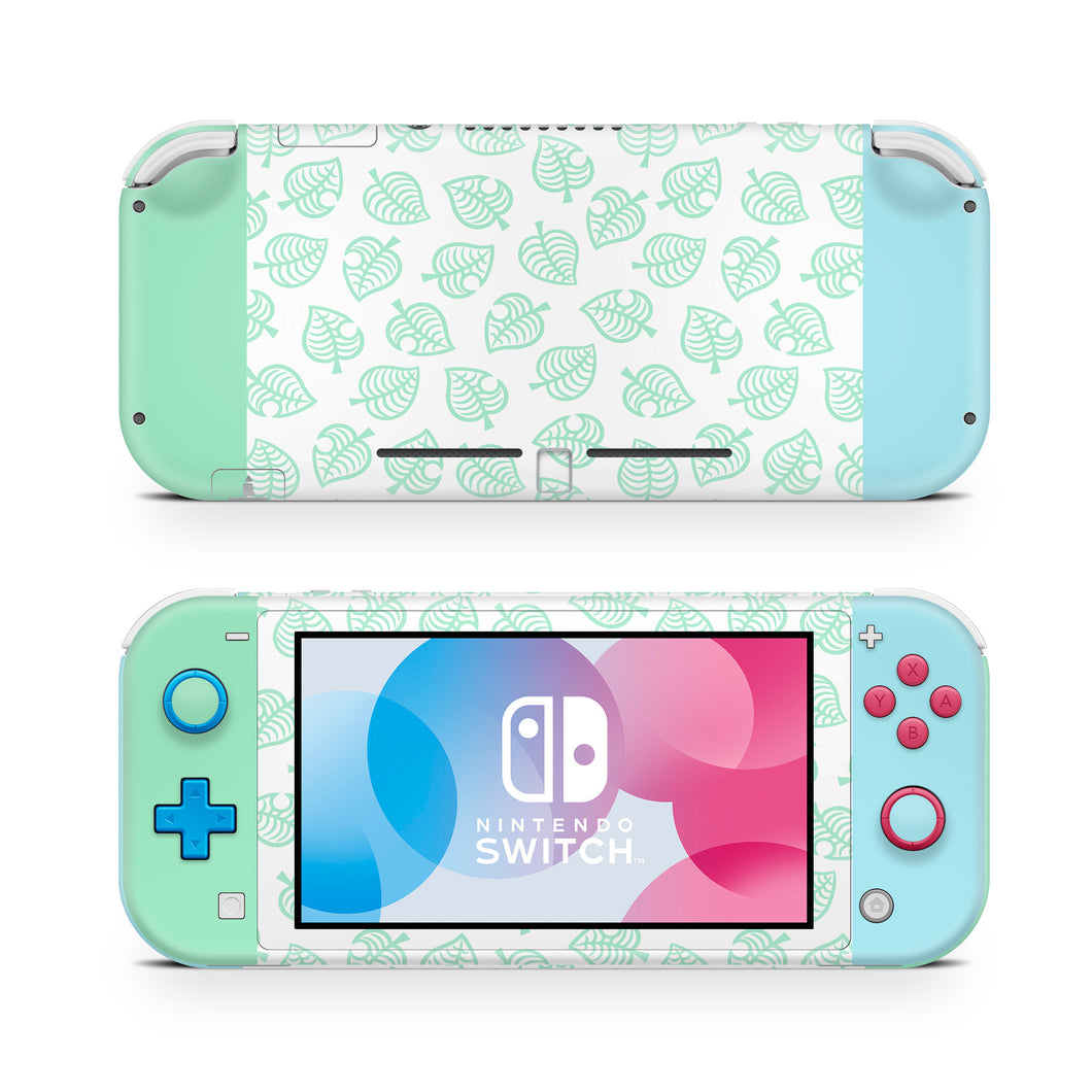 Green Leaf Pastel Green & Blue Nintendo Switch Lite Skin