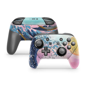 Watercolor Great Wave  Nintendo Switch Pro Controller Skin