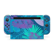 Blue Botanical Tropical Leaves Nintendo Switch Skin