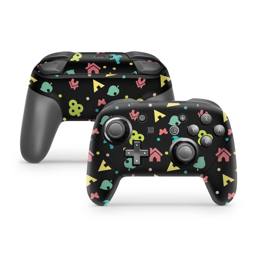 Animal Icons on Black Nintendo Switch Pro Controller Skin