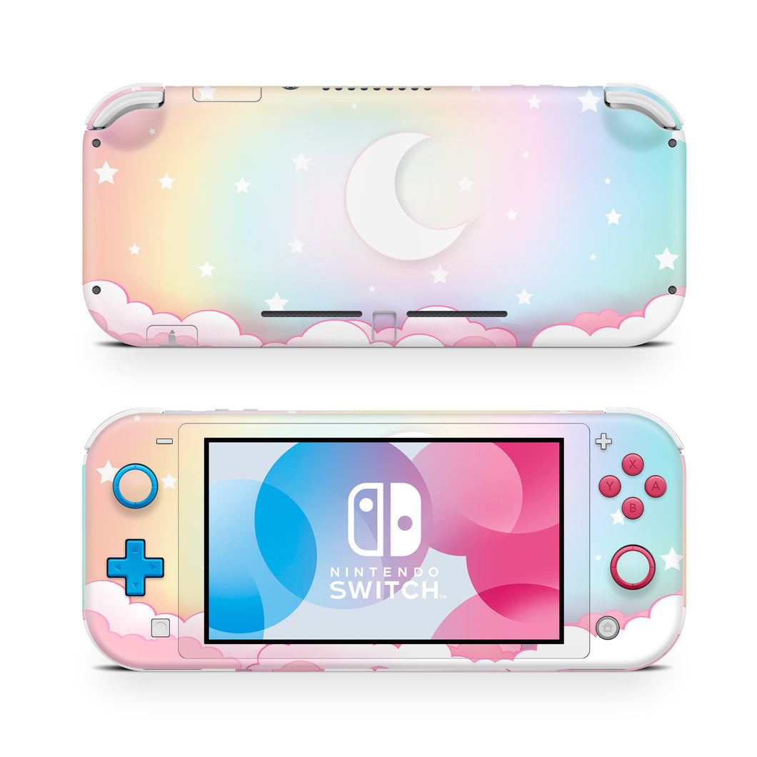 Ombre Starry Lunar Night Pink Clouds Nintendo Switch Lite Skin