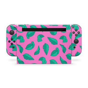 Pink with Green Leaves Nintendo Switch Skin