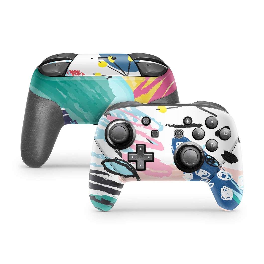 Bright Scribbles Nintendo Switch Pro Controller Skin