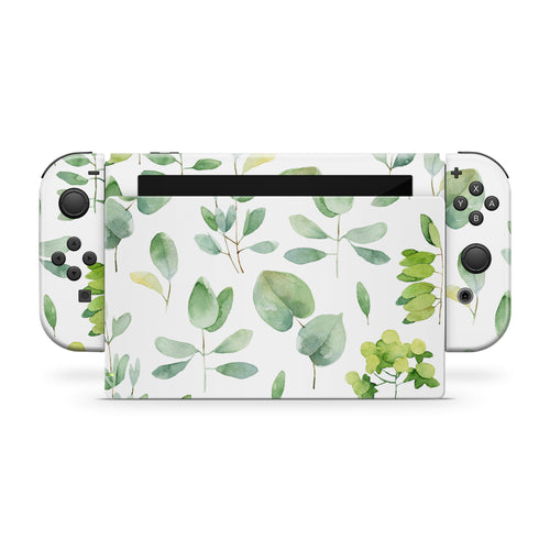 Watercolor Greenery Nintendo Switch Skin