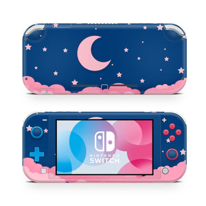 Navy Blue Starry Lunar Night Pink Clouds Nintendo Switch Lite Skin