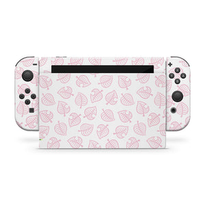 Pink Leaf Nintendo Switch Skin