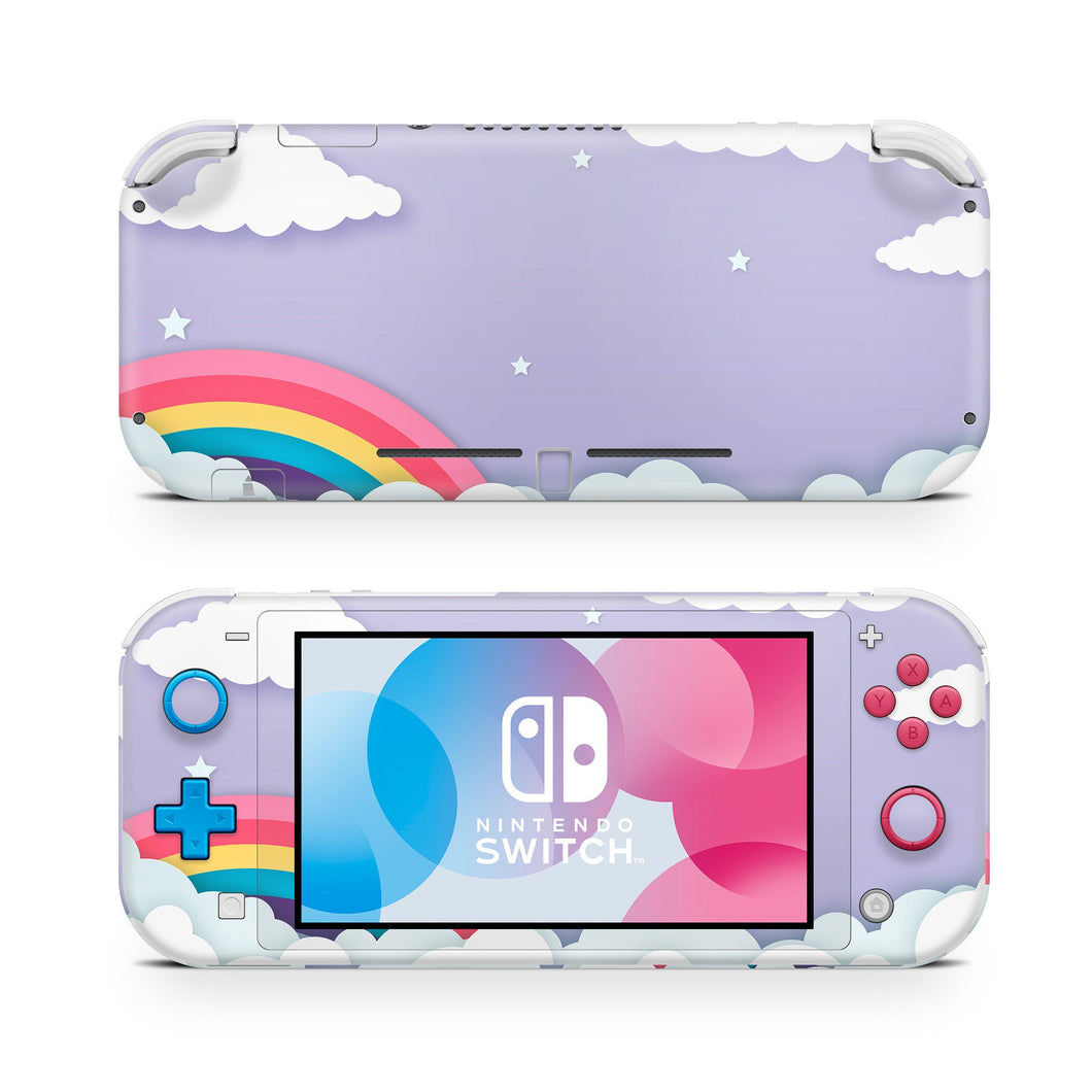 Rainbow Lavender Sky & Clouds Nintendo Switch Lite Skin