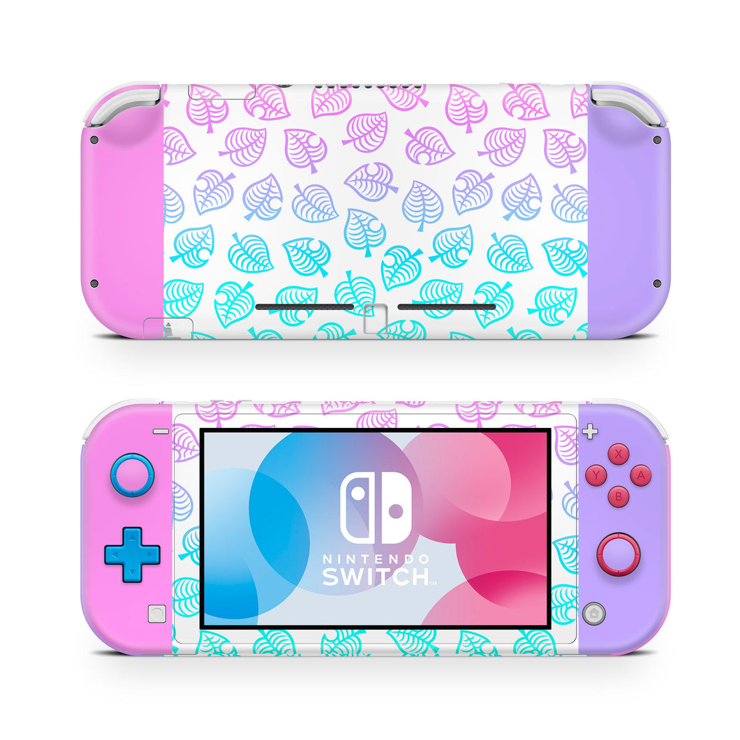 Pink & Purple Ombre Leaf Nintendo Switch Lite Skin