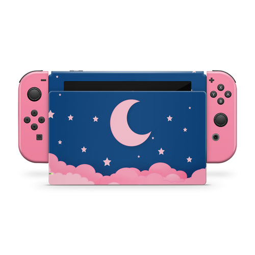 Navy Blue Starry Lunar Night Pink Clouds Nintendo Switch Skin