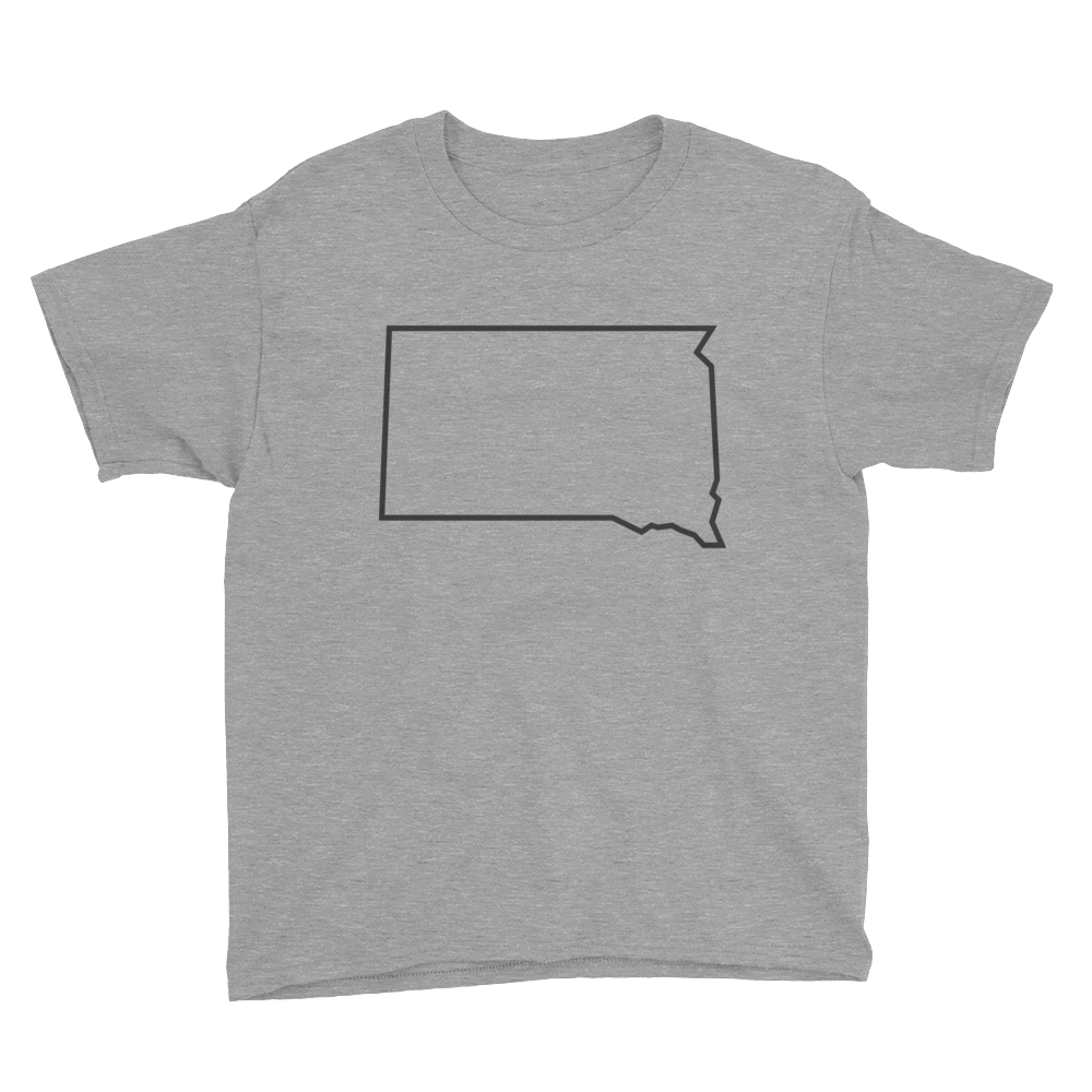 Dakota Outline Youth T-Shirt Gray