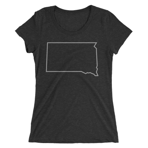 Women's Dakota Outline T-Shirt in Charcoal Black Triblend