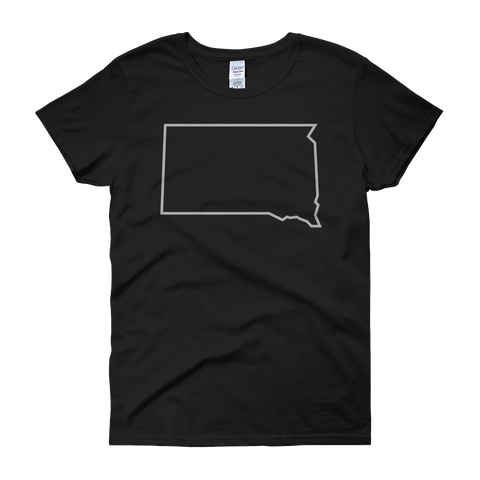 Women's Dakota Outline T-Shirt in Charcoal Black