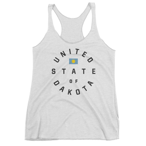 Women's United State of Dakota tank in Tri-Oatmeal