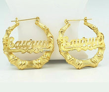 GOLD TONED BAMBOO NAME HOOP EARRINGS w/underline
