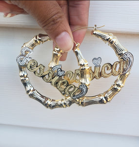 "3"" inch BAMBOO NAME HOOP EARRINGS"