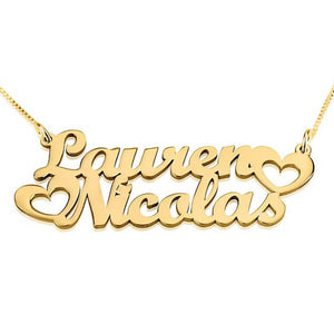 Two Nameplate Necklace with Heart
