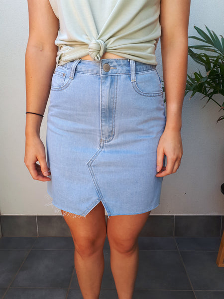Raw Cut Denim Skirt