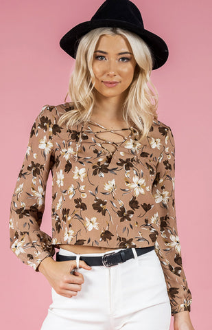 Tan Floral Lace Up Top