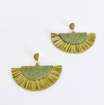 Salma Cord Fringe Earrings Green