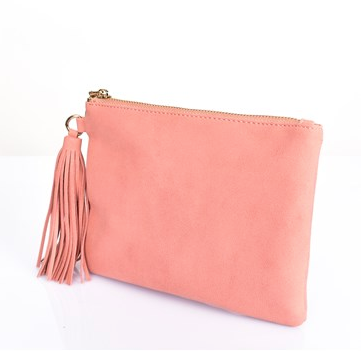 Coral Faux Suede Tassel Pouch
