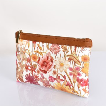Floral and Tan Clutch