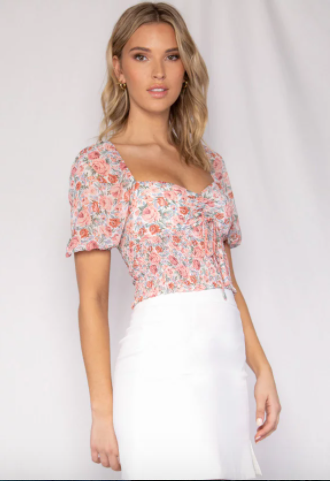 Belle Floral Shirred Waist Top
