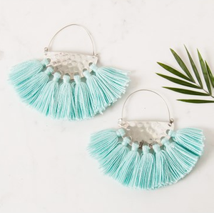 Mint and Silver Tassel Earring