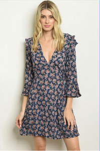 Greta Navy Floral Dress