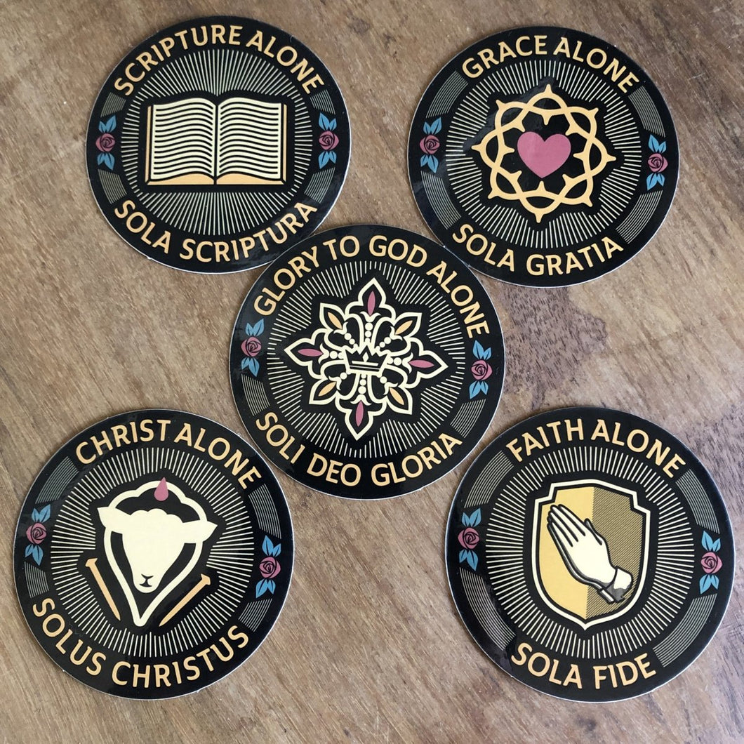 Five Sola Seal Set - Decal - Decal - The Reformed Sage - reformed - reformed gifts - christian gifts - christian hoodie - christian apparel - christian decor - christian art -