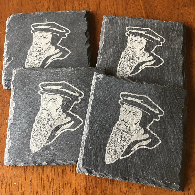 John Calvin - Slate Coaster - Slate Coaster - The Reformed Sage - reformed - reformed gifts - christian gifts - christian hoodie - christian apparel - christian decor - christian art -