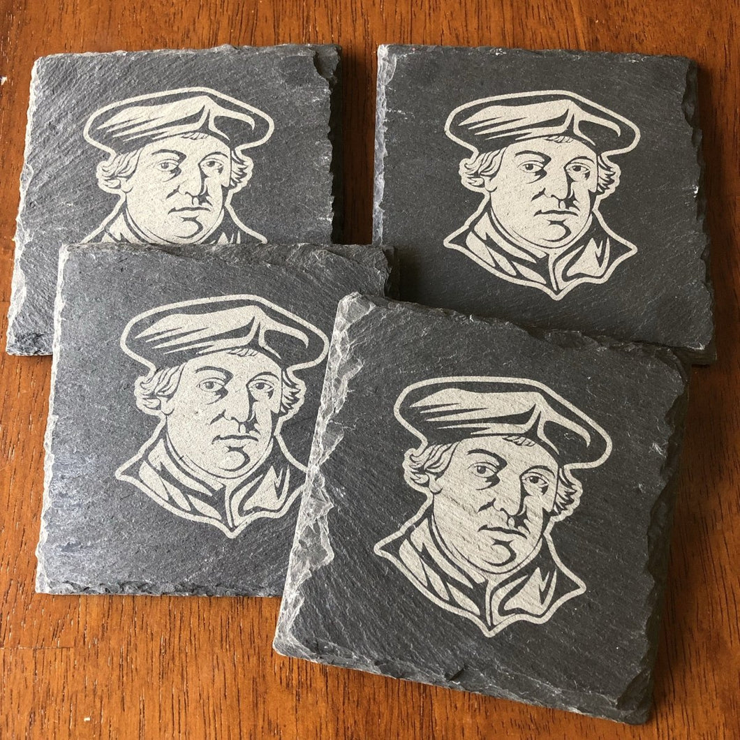 Martin Luther - Slate Coaster - Slate Coaster - The Reformed Sage - reformed - reformed gifts - christian gifts - christian hoodie - christian apparel - christian decor - christian art -