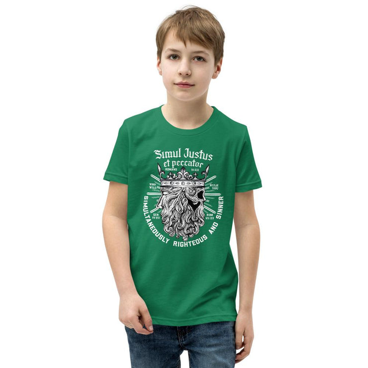 Simul Justus - Youth T-Shirt - The Reformed Sage - reformed - reformed gifts - christian gifts - christian hoodie - christian apparel - christian decor - christian art -