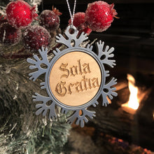 Load image into Gallery viewer, Sola Gratia Text - Metal Ornament - Reformed Christmas Ornament - The Reformed Sage - reformed - reformed gifts - christian gifts - christian hoodie - christian apparel - christian decor - christian art -