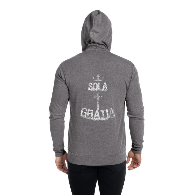 Sola Gratia - Unisex zip hoodie - The Reformed Sage - reformed - reformed gifts - christian gifts - christian hoodie - christian apparel - christian decor - christian art -